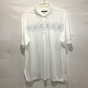 Greg Norman Collection Shirts - GREG NORMAN PLAY DRY White Argyle Shirt XXL